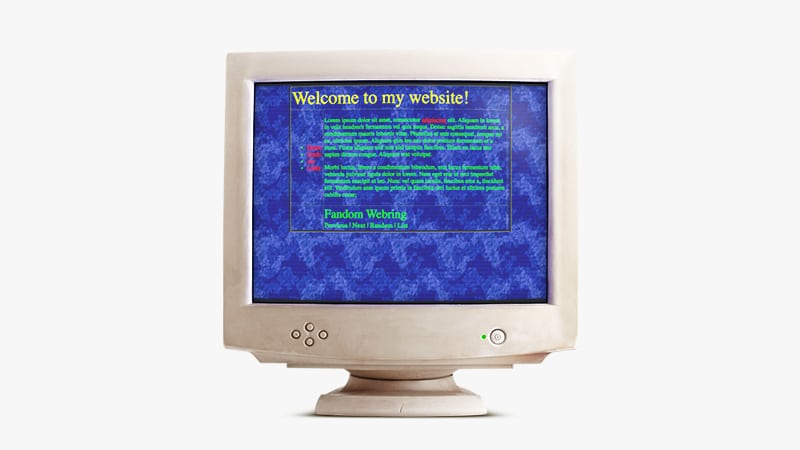 "a beige CRT monitor with an ugly 90s style website that says ""welcome to my website"" in yellow on blue with lots of green text"